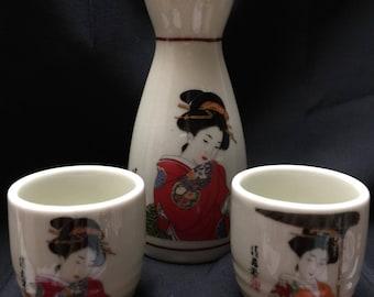 Vintage Geisha Sake Set - Japan
