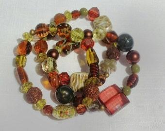 Czech Lampwork Beaded Bracelets, Fall Hues in Greens & Browns Layering Bracelets, Boho Jewelry, Bohemian Jewelry, Shabby Chic