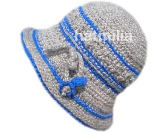 vintage style grey blue handmade bucket hat winter beanie big head round  face big size XL bell bucket cap Hatmilia 7fdd71dba1f6