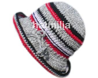 vintage style grey red black handmade bucket hat hatmilia acrylic wool 427c5ef857c3