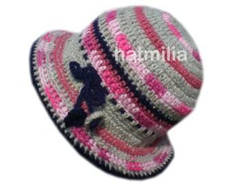 vintage style grey pink dark blue handmade bucket hat beanie big head round  face hatmilia big size XL b7175c81daec