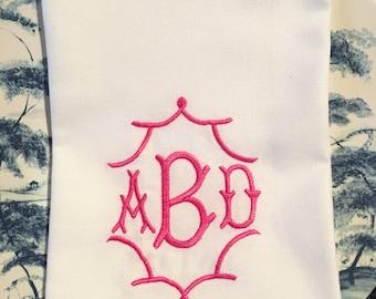 Pagoda Frame 3 Letter Monogrammed Napkins Set of 4