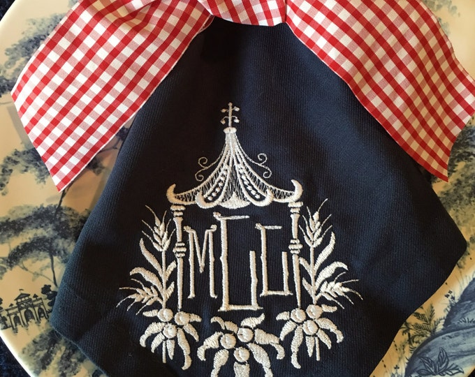 Featured listing image: Navy Buffet Napkins w/  Pagoda 3 Letter Monogram Initials SET OF 4