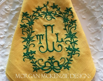 Yellow Buffet Napkins/ Green Wreath Initial Monogram set of 4