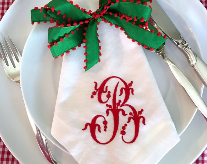 Featured listing image: Single Initail Monogram Napkins SET OF 4
