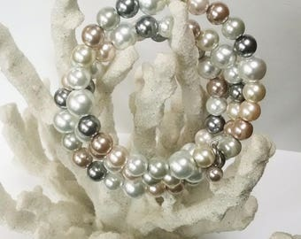 Multi Colored Glass Pearl Wrap Bracelet