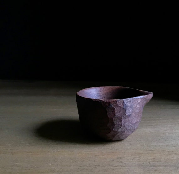 spouted bowl, hand carved from walnut