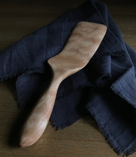 spatula, hand carved from quilted maple