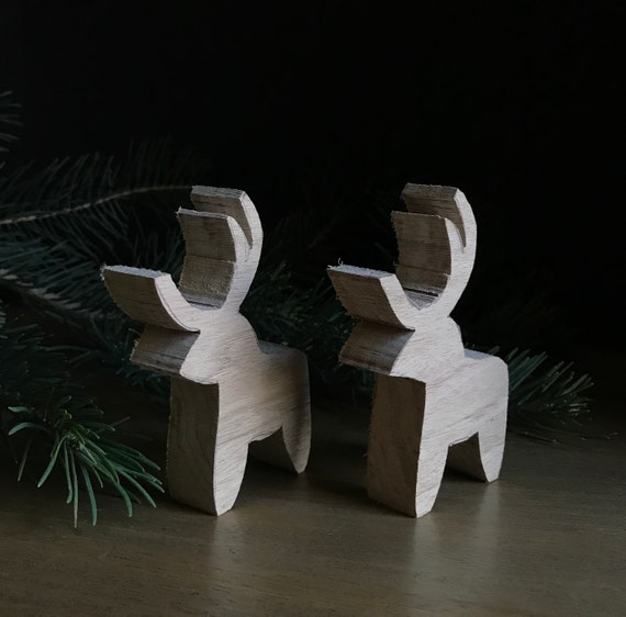 wood blanks, set of two, reindeer or horse