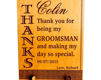 Personalized Groomsman Gift - Gifts for Groomsmen - Wedding Thank You Plaque, PWP003