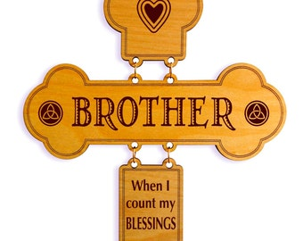 Birthday Gift for Brother - Christian Gifts - Personalized Christmas Cross from Sister