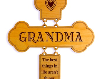 Birthday Gift for Grandma - Gifts Personalized for Grandma - Birthday Gift from Grandkids - Wall Cross.