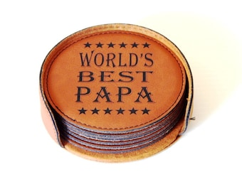 Grandpa Birthday Gift - Gifts for Grandfather - Fathers Day Coasters from Granddaughter - Grandson, CAS009