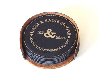 Personalized Couple Coasters - Gift for Wedding - Anniversary Gift  - Leather Engraved Coaster Set, CAS016