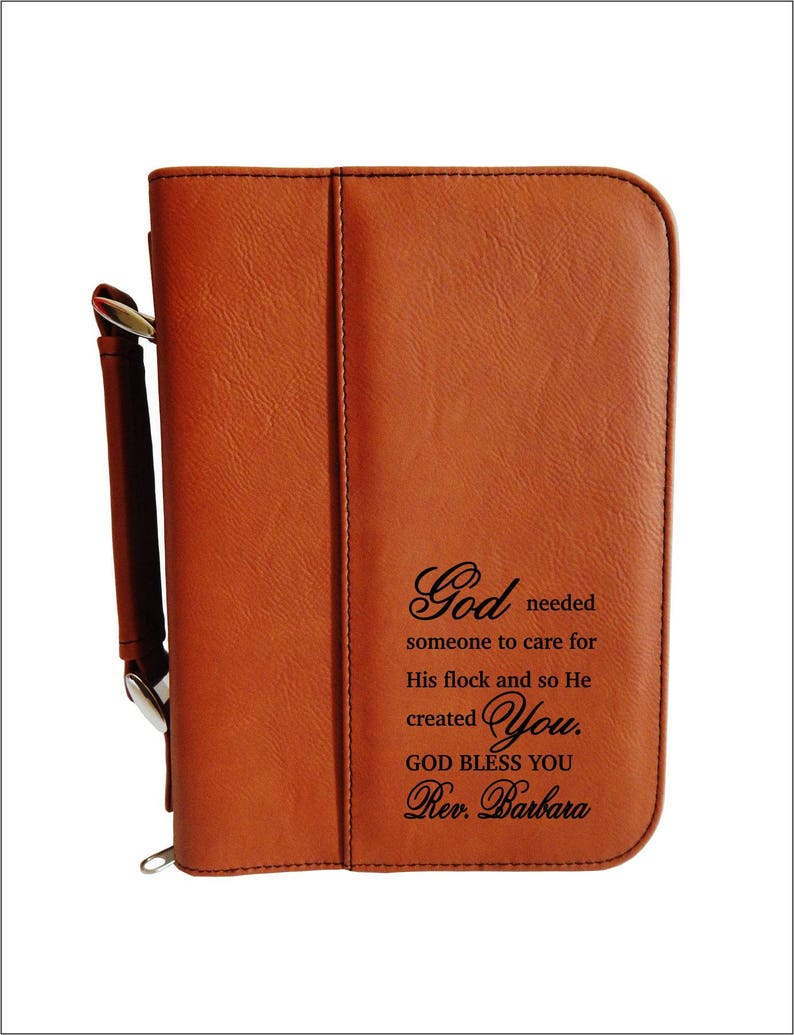 Birthday Gift for Reverend  Engraved Bible Cover with Zipper image 0