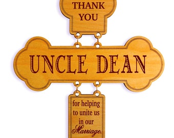 Officiant Gift - Uncle-Aunt-Brother Wedding Appreciation Gifts - Personalized Cross. DWO011