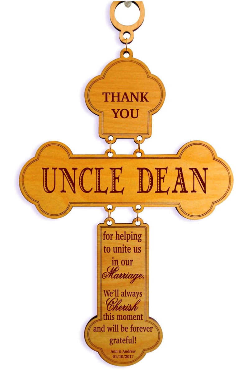 Officiant Gift DWO011 Uncle-Aunt-Brother Wedding Appreciation Gifts Personalized Cross