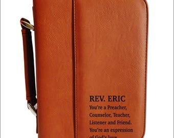 Personalized Bible Case - Leather Bible Cover  -  Engraved Father's Day Gift for Priest, BCL024