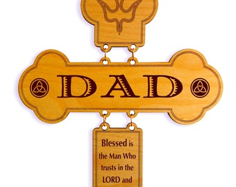 Father's Day Gift for Dad - Christian Gifts Personalized -  Christmas Cross - Birthday Gift
