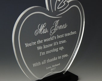 Teacher Apple Award Gift - End of Year Personalized Appreciation Gifts from Student, ATA009
