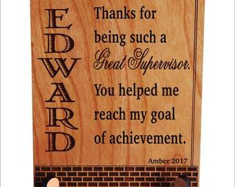 Gift for Supervisor - Team Leader Gifts - Boss Thank You Plaque - Christmas Gift, PBA005