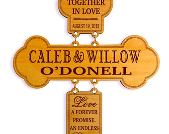 Personalized Wedding Gift for Couple - Gifts for Anniversary - Mr and Mrs Wall Cross, GDW01