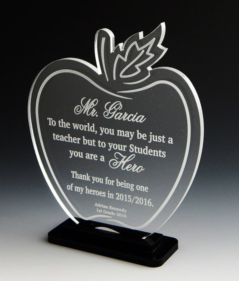 Teacher Apple Gift  Gifts for Teacher  Personalized Engraved image 1