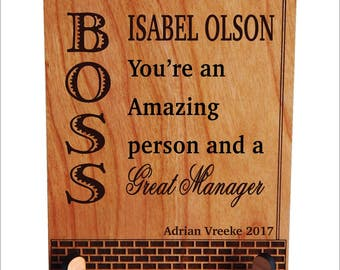 Gift for Manager - Mentor Boss Gifts - Personalized Christmas Lady Boss Plaque, PBA007