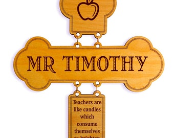 Teacher Christmas Gift - End of Year Gifts from Student - Personalized Engraved Cross for Teacher Retirement, GDT3