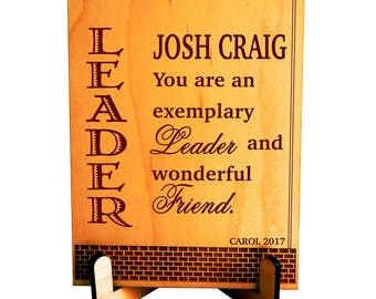 Leadership Gift - Gifts for Leader - Supervisor Thank you Gift - Personalized Boss Birthday Plaque,  PBA002