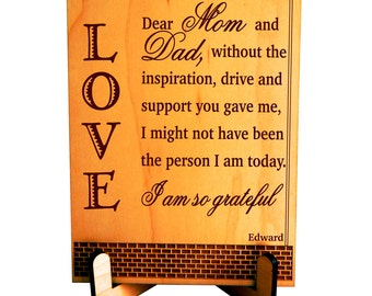 Mom and Dad Gift from Son - Daughter - Gifts for Parents - Personalized Thank you Plaque, PDM001