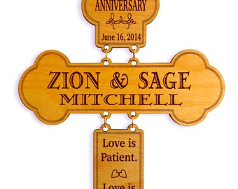 25th Anniversary Gift - Wedding Gifts for Couple - Personalized Silver Marriage Cross, GDA03