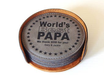 Grandpa Christmas Gift - Personalized Leather Coaster - Fathers Day Gifts for Grandfather, CAS035