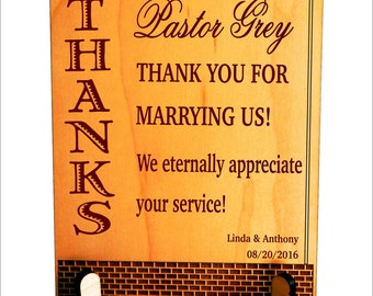 Wedding Officiant Gift - Gifts for Priest - Thank You Plaque, PLP007