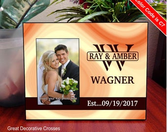 Monogram Wedding Gift for Couple - Personalized Photo Frame for Bride and Groom - Gift for Newlyweds - Anniversary Gift, FWA012
