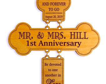 1st Wedding Anniversary Gift for Couple - Personalized First Anniversary Cross - 1 Year of Marriage, GDA01