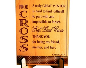 Gift for Teacher - College Professor Personalized Gifts - Mentor Appreciation Plaque from Student, PLT002