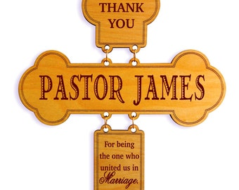 Wedding Officiant Gift - Gifts for Officiant Personalized - Wedding Thank You Cross - Wedding Gift for Pastor, DWO001