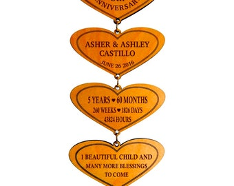 5th Anniversary Gift for Couple - Personalized Wedding Couples Hearts - 5 Years of Marriage