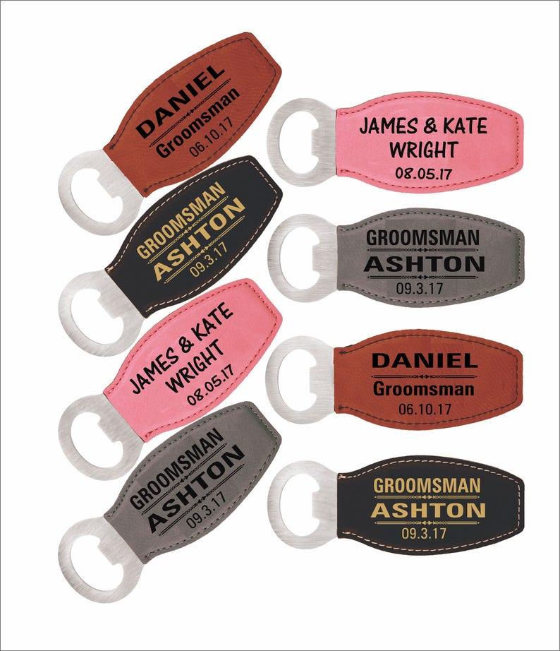 1b405e610cb5 Custom Bottle Opener Personalized Groomsmen Gift Leather