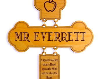 Teacher Thank You Gift from Student - Retirement Gifts for Teachers - Personalized Appreciation Week Cross, GDT1