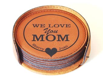 Mothers Day Gift for Mom - Personalized Leather Coasters - Mother's Day Gifts, CAS006