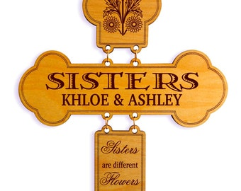 Gift for Twin Sister - Christmas Sister Gifts Personalized - Birthday Wall Cross from Brother