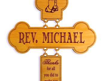 Officiant Gift - Wedding Gifts for Pastor - Personalized Thank you Cross, DWO007