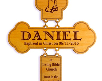 Christening Gift for Boy - Girl Baptism Gifts - Personalized Wall Cross for Godson from Godmother, GDB3