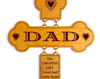 Birthday Gifts for Dad - Father's Day Gift from Daughter - Son - Personalized Christmas Wall Cross
