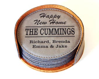 Home Warming Gift for New First House - Personalized Family Coasters with Holder, CAS014
