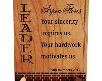 Gift for Team Leader - Supervisor Birthday Gifts - Personalized Plaque from Team Members, PBA004