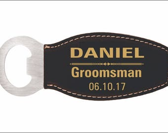 Groomsmen Gift Bottle Opener - Personalized Leather Openers with Magnet - Gift for Groomsman, LBO001