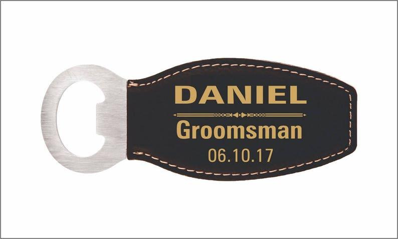 Groomsmen Gift Bottle Opener  Personalized Leather Openers image 0